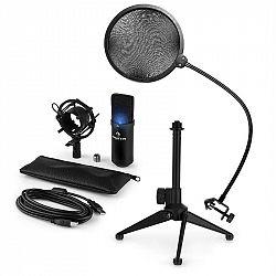 Auna MIC-900B-LED V2, USB mikrofonní sada, černý kondenzátorový mikrofon + pop-filter + stolní stativ