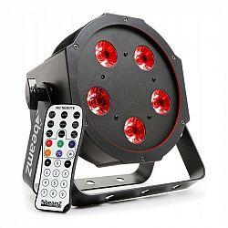 Beamz BFP120 FlatPAR, 5x 8W RGBW LED diody, 3-v-1 LED lampy, DMX, IR dálkové ovládání