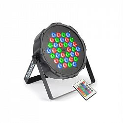 Beamz FlatPAR, 36 x 1W, PAR reflektor, RGB, LED, DMX, IR, dálkový ovladač