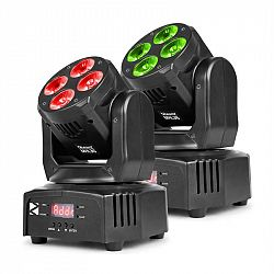 Beamz MHL36, movinghead, pohyblivá hlavice, LED efekt, 2 kusy, 4 x 9W, RGBW, 4v1 LED, 4 show, černá barva