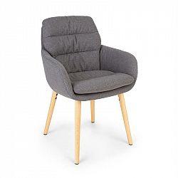 Besoa Doug, čalouněná stolička, pěnová výplň, polyester, dřevěné nohy, tmavě šedá