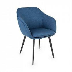 Besoa James, čalouněná židle, pěnová výplň, 100% polyester, ocelové nohy, tmavě modrá