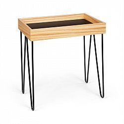 Besoa Little Lyon, konferenční stolek, melamin/MDF s dubovou dýhou, ocelový rám, černý