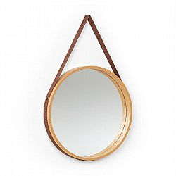 Besoa Lynn, nástěnné zrcadlo, 35,5 cm Ø, překližka, dubová dýha, plastový popruh, dřevo