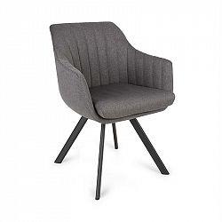 Besoa Roger, čalouněná židle, pěnová výplň, 100% polyester, ocelové nohy, tmavě šedá