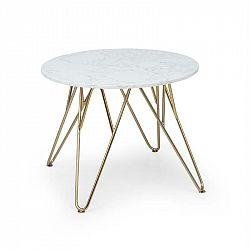 Besoa Round Pearl, konferenční stolek, 55x45 cm (Ø x V), mramor, zlatý/bílý