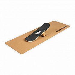 BoarderKING Indoorboard Skate, balanční deska, podložka, válec, dřevo/korek, černá