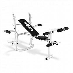 KLARFIT HB3BC-W, tréninková lavice, posilování rukou, nohou, odkládací plocha, bílá