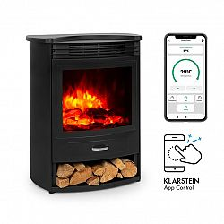 Klarstein Bormio S Smart, elektrický krb, 950/1900 W, termostat, týdenní časovač, černý