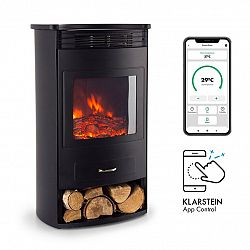 Klarstein Bormio Smart, elektrický krb, 950/1900 W, termostat, týdenní časovač, černý