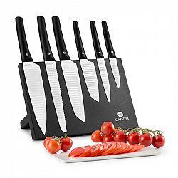 Klarstein Kissaki, 7-dílná sada nožů, magnetický stojan, nepřilnavý povrch, vlnovitý tvar, bílá