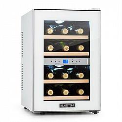 Klarstein Reserva, chladící vinotéka, 34 l, 12 lahví, 2 chladicí zóny, 7-18 ° C, bílá