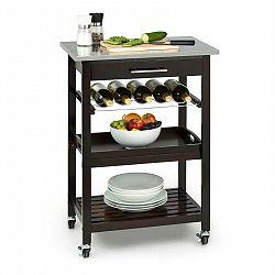 Klarstein Vermont kuchyňský vozík, jídelní vozík, zásuvka, polička na víno, ušlechtilá ocel