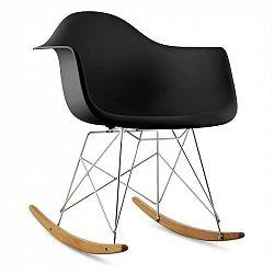 OneConcept Aurel, černá, houpací židle, retro, PP sedadlo, březové dřevo