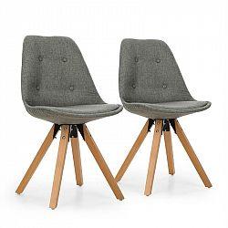 OneConcept Iseo židle, 2-dílná sada, polstrovaná PP-konstrukce, březové dřevo, šedá barva