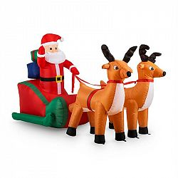 OneConcept X-Mas X-Press, 240 cm, nafukovací vánoční dekorace, Santa Claus se spřežením, LED